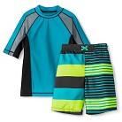 Boys' 2-Piece Rashguard and Striped Swim Trunk Set