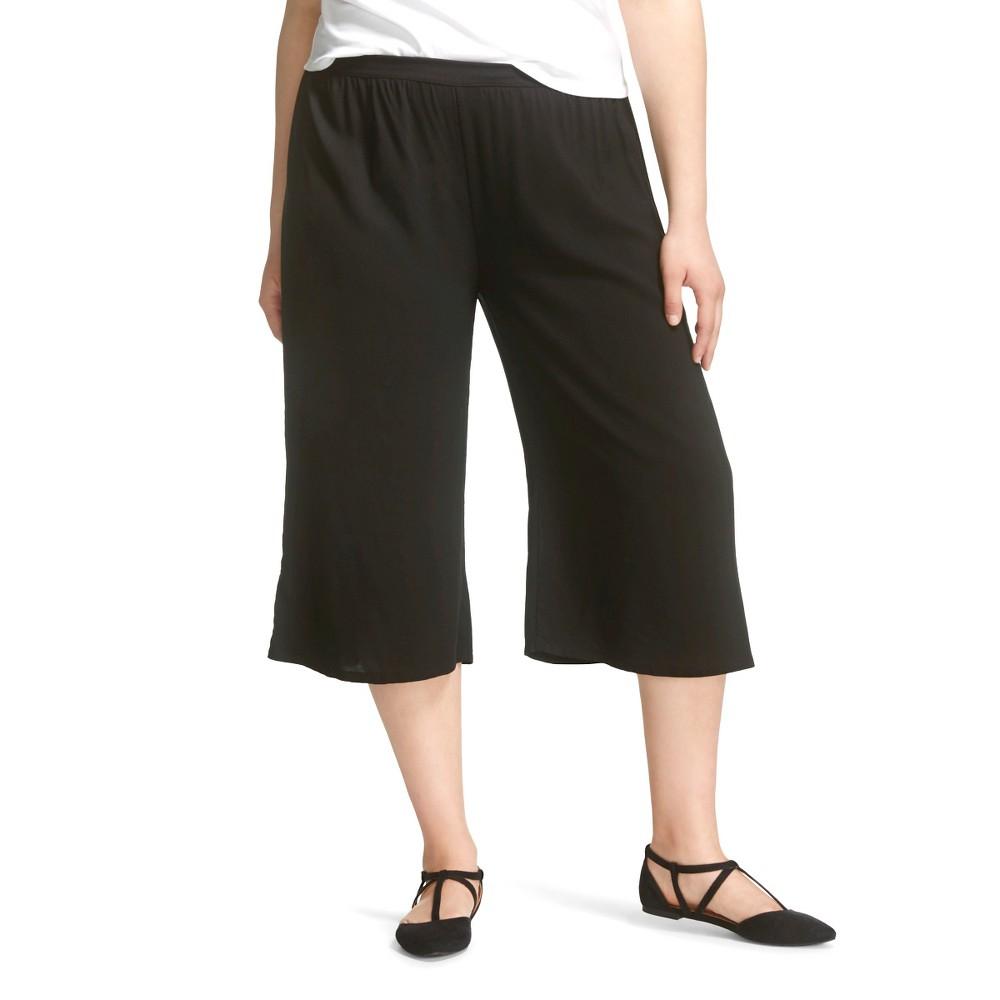 Plus Size Gaucho Pant Black -Lily Star