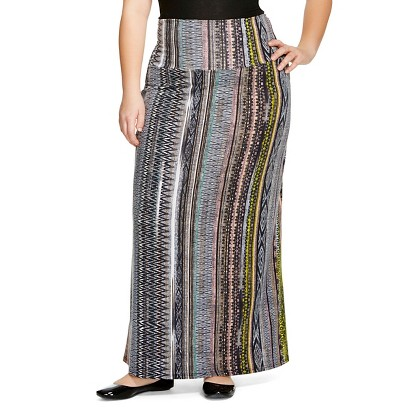Women's Plus Size Aztec Print Maxi Skirt 3X-Lily Star