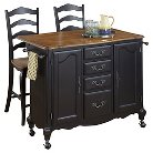 The French Countryside Oak and Rubbed Kitchen Cart and Two Stools