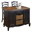 The French Countryside Oak and Rubbed Kitchen Island and Two Stools - Black