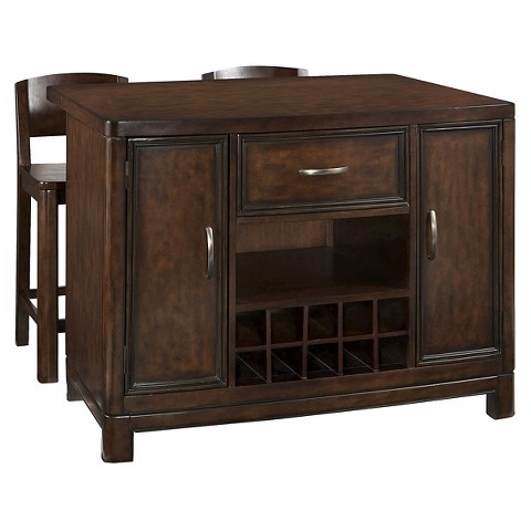 Crescent Hill Kitchen Island With 2 Stools Target
