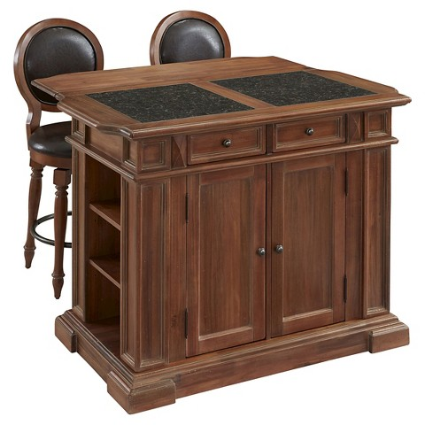 americana vintage kitchen island with 2 stools w target