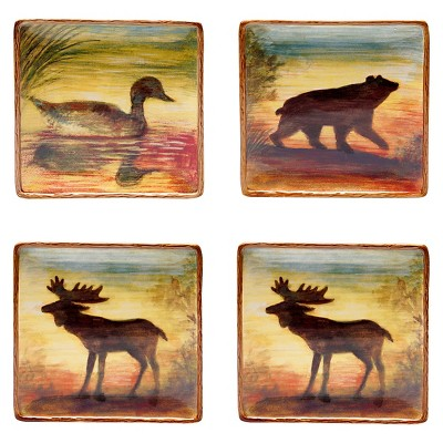 Ecom Plates Certified Internatio Red Brown Gold Animal Icon