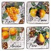 "Certified International Botanical Fruit Canapé Plates Set of 4 (6"")"