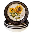 """Certified International French Sunflowers Soup/Pasta Bowl Set of 4 (9.25"""" x 2"""")"""