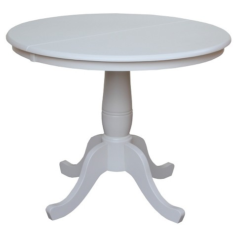 Round pedestal 36 dining table with 12 leaf target for Round pedestal table with leaf