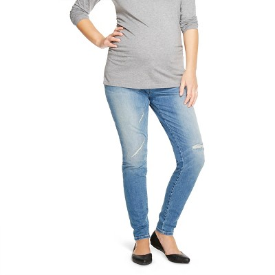 Maternity Inset Under the Belly Distressed Jegging - M Wash XXL - Liz Lange® for Target