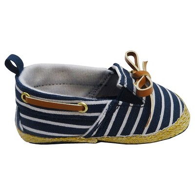 Newborn Girls' Striped Boat Shoes - Navy 3-6 M