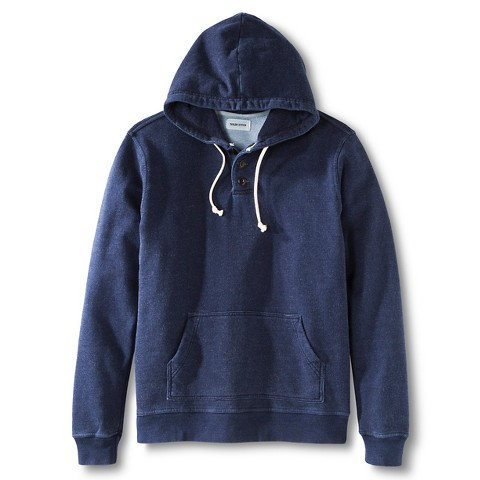 Taylor Stitch Men's Washed Indigo 3 Button Hooded Sweatshirt