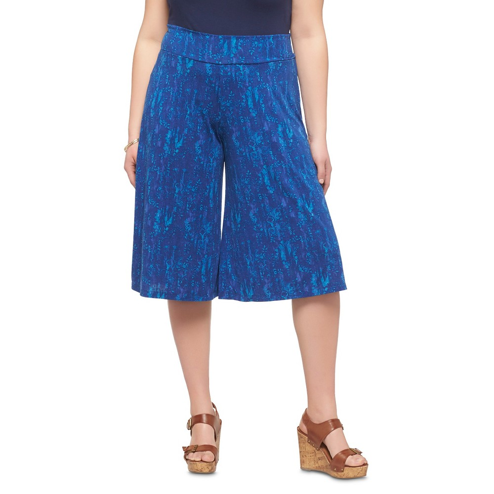 Women's Plus Size Gaucho Pants Blue Print - Mossimo Supply Co.