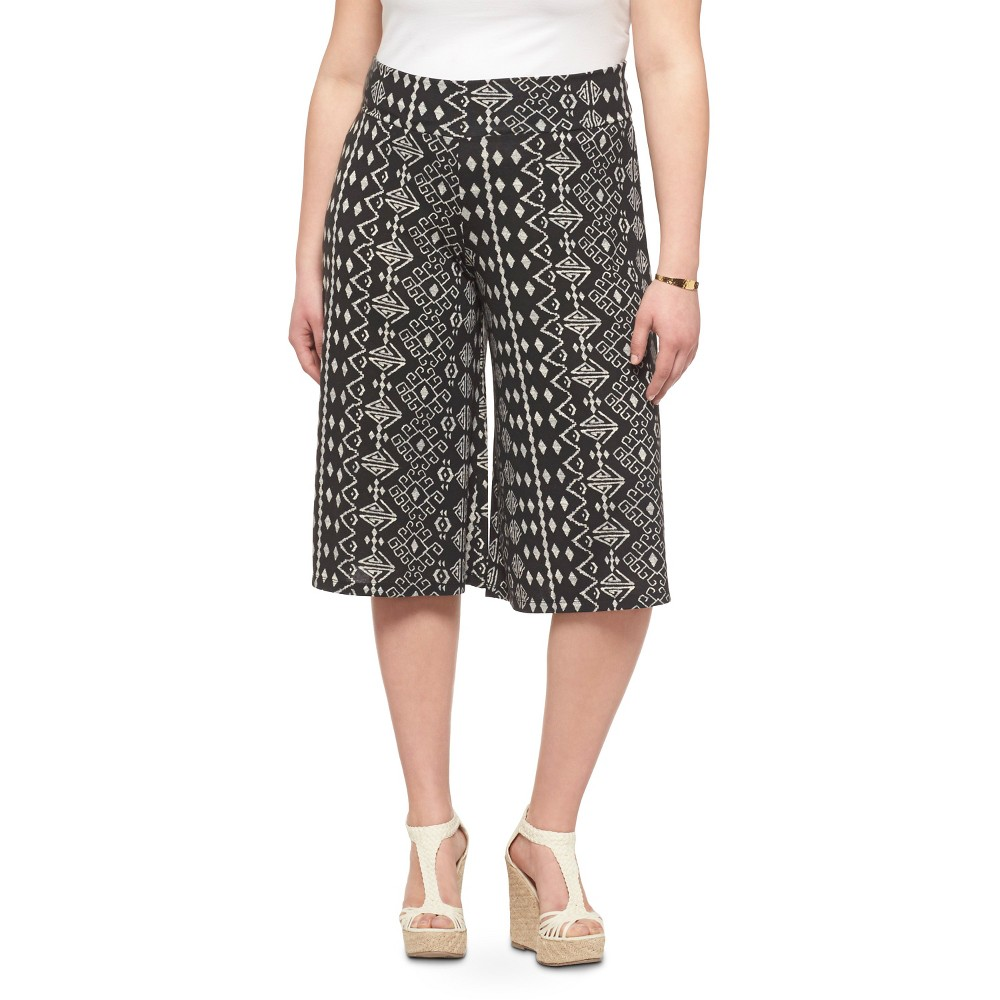 Women's Plus Size Gaucho Pants Black Print - Mossimo Supply Co.