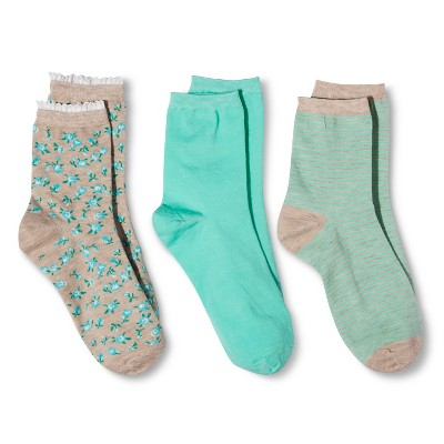 Women's Legale Fashion Crew Socks 3-Pack - Teal/Oatmeal One Size