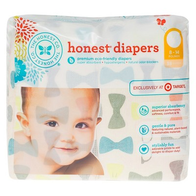 Honest Diapers Jumbo Pack, Bow Ties - Size 1 (38 Count)