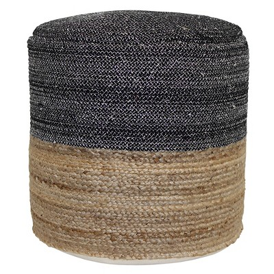 Round Pouf - Black and Tan - Threshold™