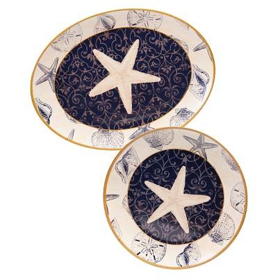 "Certified International Coastal Moonlight Melamine 2 Piece Platter Set (18"" and 14"")"
