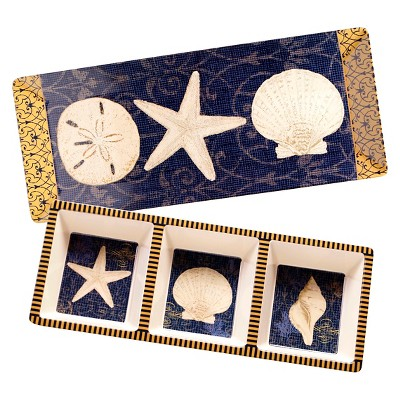 Certified International Coastal Moonlight Melamine 2 Piece Appetizer Set