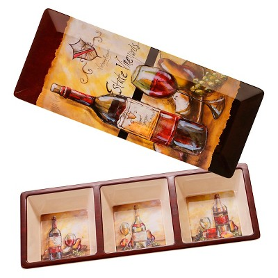 Certified International Estate Wine Melamine 2 Piece Appetizer Set