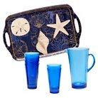 Certified International Coastal Moonlight Melamine 8 Piece Beverage Set