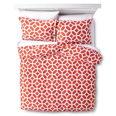 Helix Modern Geo Duvet Cover Set Full/Queen Orange