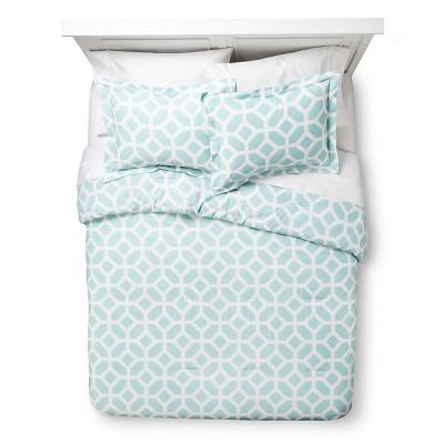 Helix Modern Geo Comforter Set - Aqua (Full/Queen)