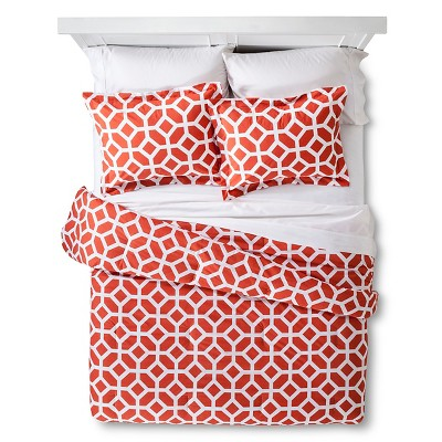 Helix Modern Geo Comforter Set - Orange (King)