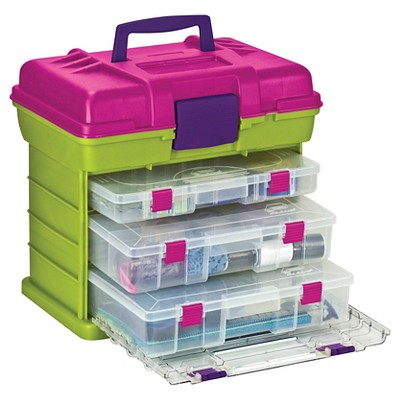 Creative Options Scrapbooking Tool Organizer - Green/Clear/Pink