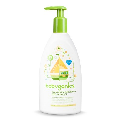 Babyganics Moisturizing Daily Baby Lotion with sunscreen SPF15, Chamomile Verbena - 11oz