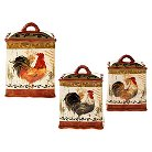 Certified International Tuscan Rooster Canisters Set of 3