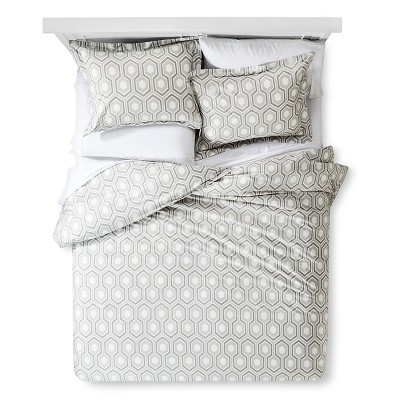 Hex Modern Geo Duvet Cover Set - Gray (Full/Queen)