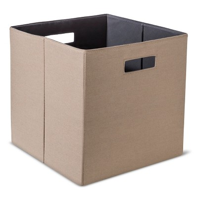 "Fabric Cube Storage Bin 13"" - Mocha - Threshold™"