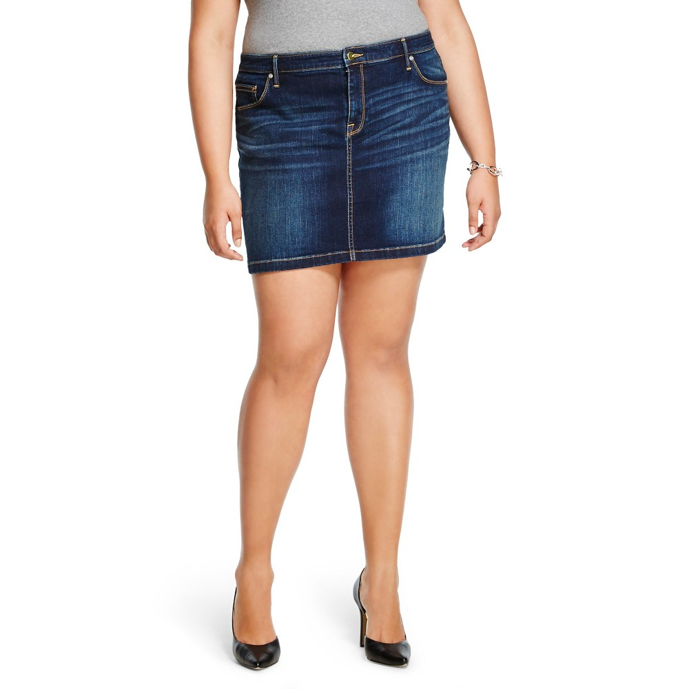 Women's Plus Size Dark Wash Jean Skirt Medium Blue - Ava & Viv