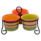Certified International Hot Tamale 3-Section Server with Metal Stand and Bowls