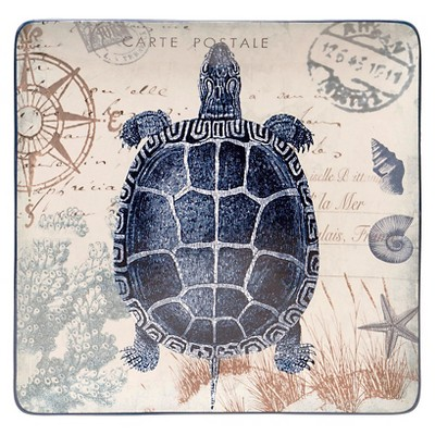 "Certified International Coastal Postcards Square Platter (14.5"")"