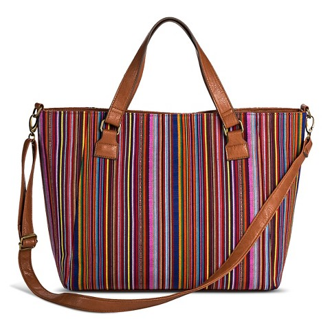 Women's Stripe Print Canvas Tote Handbag - Red