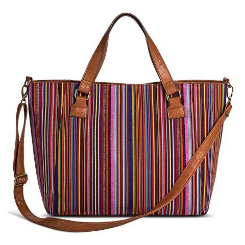 Women's Stripe Print Canvas Tote Handbag - Red