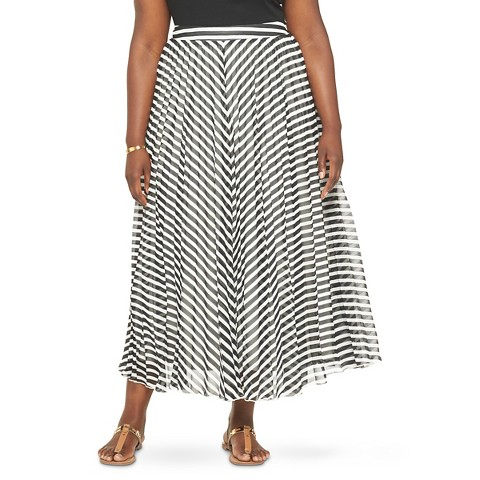 s plus size chevron pleated maxi skirt wd 183 ny black