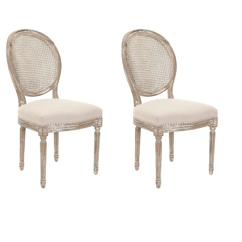 Lehana Side Chair Wood Beige Set of 2 Safavieh Tar