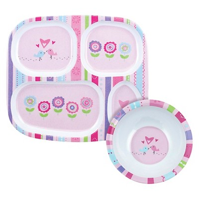 Bumkins Melamine Bowl and Divided Plate Set, Girl