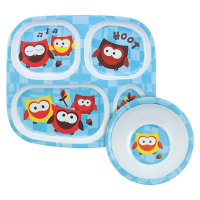Bumkins Melamine Bowl and Divided Plate Set, Owl