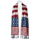 Women's Oversized American Flag Print Oblong Wrap Scarf - Red