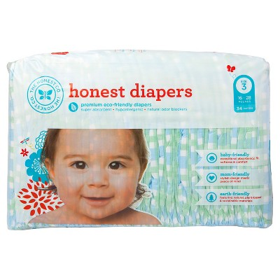 Honest Company Diapers Blue Gingham - Size 3 (34 Count)