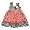 Toddler Girls' Gingham Check Ladybug Sun Dress - Red/Black