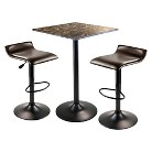 Winsome Cora 3 Piece Square Counter Height Table with 2 Swivel Stools - Black