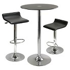Winsome Rossi 3 Piece Pub Table Round Glass Top with 2 Air Lift Adjustable Stools - Black