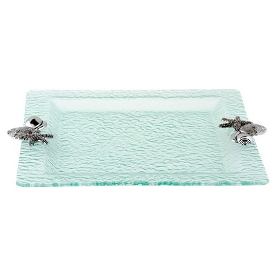 Thirstystone Sea Shells Square Glass Tray - Clear