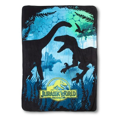 Jurassic World Blanket - Blue/Green (Twin)