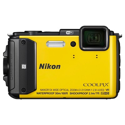 Nikon Coolpix AW130 16MP Digital Camera with 5X Optical Zoom - Yellow