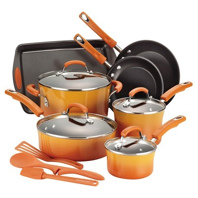 Rachael Ray Porcelain Non-Stick 14-piece Cookware Set - Orange
