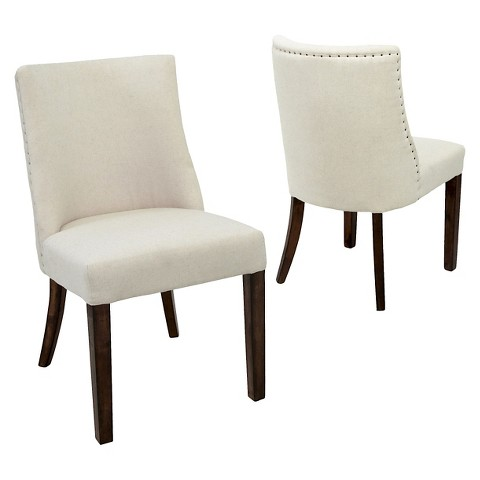 Harman Fabric Dining Chairs Wood Set of 2 Ch Tar
